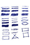 Various shape of Streak with pen Royalty Free Stock Images