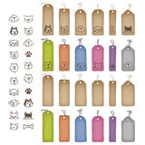 Various shaped price tags and dog illustrations Stock Photos