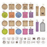 Various shaped price tags and dog illustrations Stock Photography