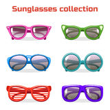 Various shapes and colors sunglasses. Collection in vector Stock Photography