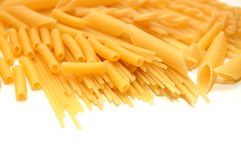Various shapes of pasta background Stock Photo