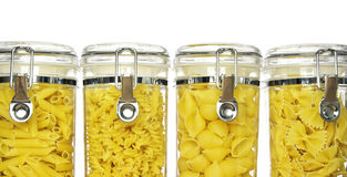 Various shapes of pasta in jars Stock Photography