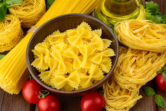 Various shapes of pasta Stock Photo