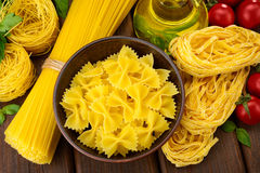 Various shapes of pasta Stock Photos