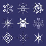Various shapes of snowflakes Royalty Free Stock Photo