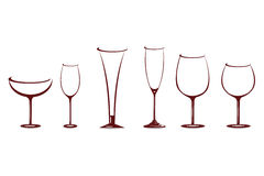 Various shapes of wine glasses Royalty Free Stock Photo