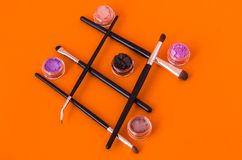 Various shapes and shapes. Women`s cosmetics. Flat lie royalty free stock images