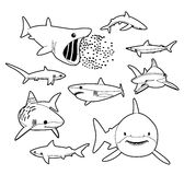 Various Sharks Cartoon Vector Illustration Monochrome Royalty Free Stock Photography