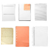 Various sheet from notebook Stock Photo