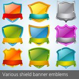 Various shield banner emblems Stock Photography