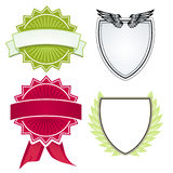 Various shields and crests Stock Images