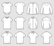 Various Shirt Templates Front and Back. A collection of shirt tops shown front and back for mocking up designs or representing sizes and styles Stock Photos