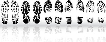 various shoe print Royalty Free Stock Photo