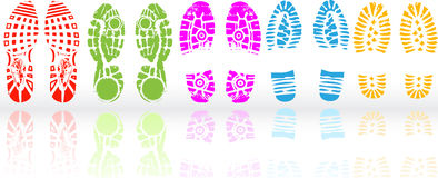 Various shoe print Royalty Free Stock Photos