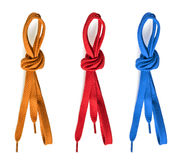 Various shoelaces on white background Stock Image