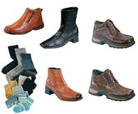 Various shoes and socks Stock Images
