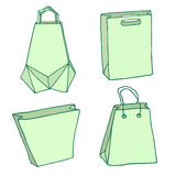 Various Shopping bags. Handbags, carriers, innovative origami bag Royalty Free Stock Image