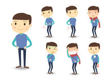 Various sickness symptoms in cartoon style. Isolated over white background Stock Photography