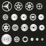 Various silver metal cogwheels parts of watch movement eps10 Royalty Free Stock Photos