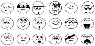 Various simple black and white emoticons Royalty Free Stock Photo