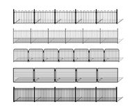 Various simple metal fence silhouettes with shadows. Various simple metal, wrought iron or steel fence silhouettes with shadows. Horizontally seamless modular Stock Images