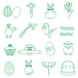 Various simple outline Easter icons set eps10 Stock Photo