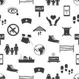 Various simple refugees theme icons seamless pattern eps10 Stock Image
