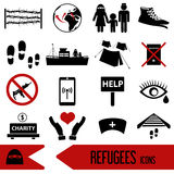 Various simple refugees theme icons set eps10 Stock Images