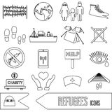 Various simple refugees theme outline icons set Royalty Free Stock Photo