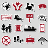 Various simple refugees theme stickers set Royalty Free Stock Images