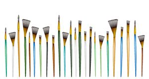 Various Size of Artist Brushes on White Background. Art Supply, An Illustration Different Size of Craft Paintbrush or Artist Brushes in A Row for Draw and Paint Royalty Free Stock Photo