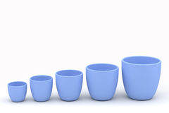 Various size ceramics flowerpot set, rendered models Stock Photos
