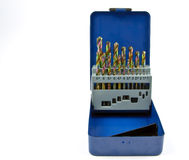 Various size drill bits in a blue box Royalty Free Stock Image