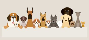 Group of Dog Breeds Holding Banner Stock Photos