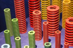 The various size industrial coil spring Stock Images