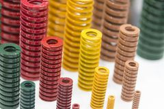 The various size industrial coil spring on the floor . Stock Images