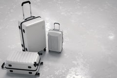 Various size of white luggages Stock Photos
