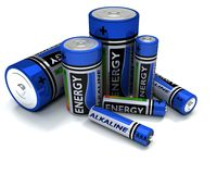 Various sized Alkaline Batteries Royalty Free Stock Photos
