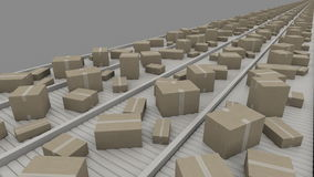 Various sized cartons moving on conveyors, perspective view. 4K seamless loopable clip stock video footage
