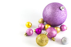 Various sized and colored Christmas balls Royalty Free Stock Photos