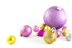 Various sized and colored Christmas balls Stock Photography