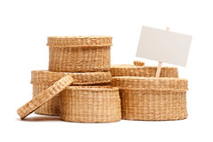 Various Sized Wicker Baskets with Blank Sign Royalty Free Stock Photo