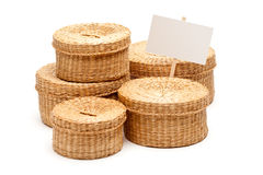 Various Sized Wicker Baskets with Blank Sign Stock Photography