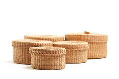 Various Sized Wicker Baskets on White Royalty Free Stock Image