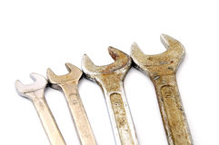 Various sizes of old wrenches. Isolate on white background Royalty Free Stock Photo