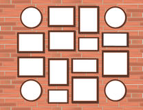 Various Sizes Pictures Photo Frames Set Realistic frame mock-up on light grunge Red Bricks Wall Background. Royalty Free Stock Image