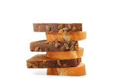 Various sliced bread. On a white background Stock Image