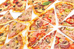 Various Slices of Pizza Stock Photography