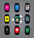 Various Smart Watch Icon Cartoon Vector Illustration. Smart Watch Icons EPS10 File Format Stock Images