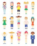 Various Smiling Boys and Girls Graphics Stock Image